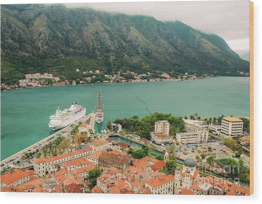 Gulf Of Kotor With Cruise Liner Wood Print
