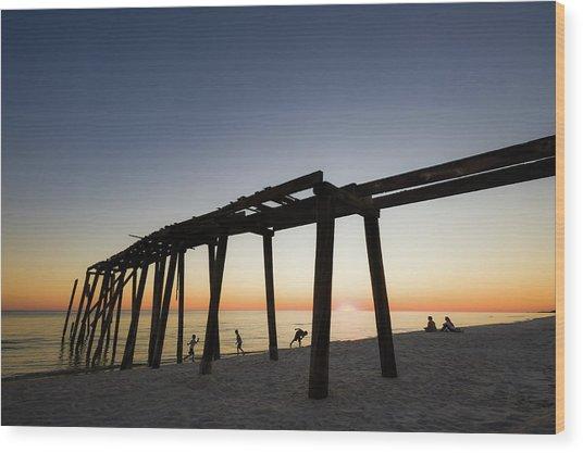 Gulf Pier Wood Print