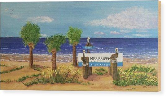 Gulf Shore Welcome Wood Print