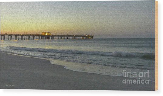 Wood Print featuring the painting Gulf Shores Alabama Fishing Pier Digital Painting A82518 by Mas Art Studio
