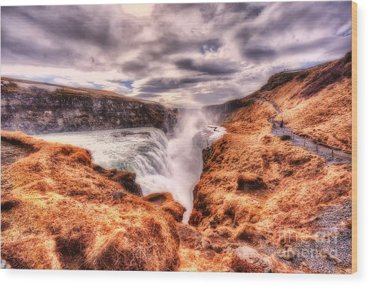 Gulfoss Waterfall Iceland 2nd Tier Wood Print