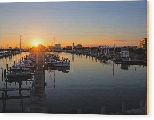 Gulfport Harbor Sunset Wood Print