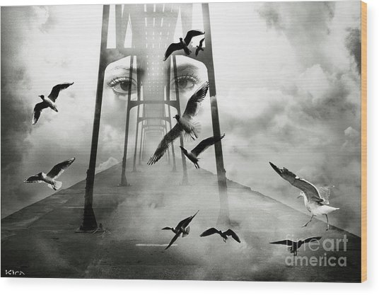 Gull Bridge Wood Print