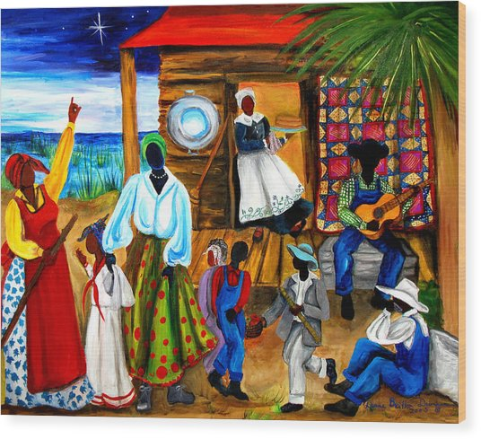 Gullah Christmas Wood Print