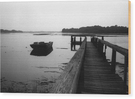 Gullah Coast Bateau Bw Wood Print