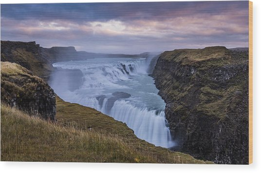 Gullfoss, Sunrise Wood Print