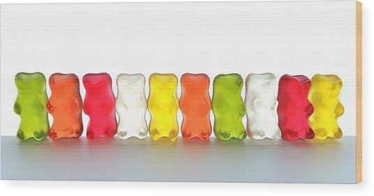 Gummy Bears In A Row Wood Print