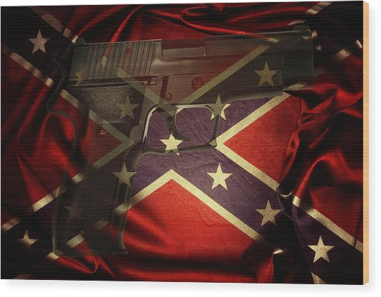 Gun And Confederate Flag Wood Print