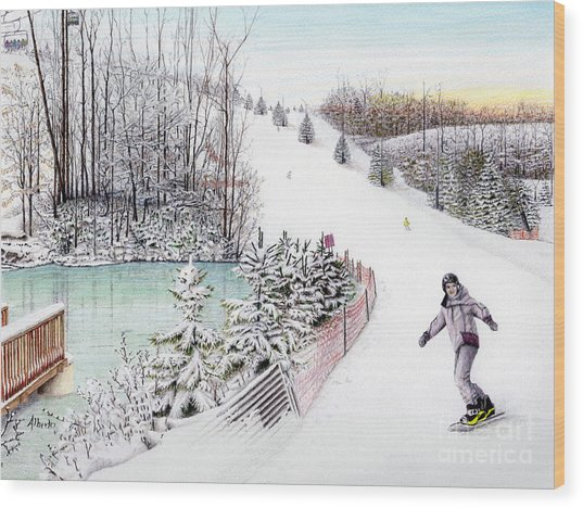 Gunnar Slope And The Ducky Pond Wood Print