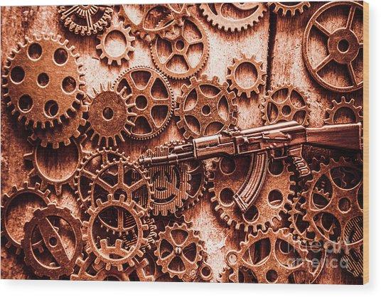Guns Of Machine Mechanics Wood Print