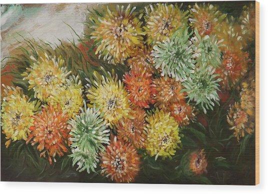 Gusty Chrysanthemums Wood Print