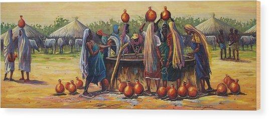 Gwari Girls Wood Print by Aderonke ADETUNJI