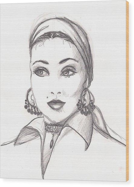 Gypsy Woman Wood Print by Scarlett Royal