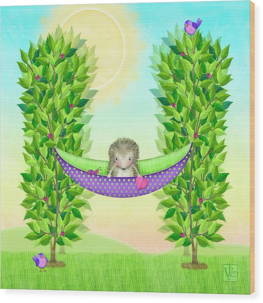H Is For Hedgehog And Hammock Wood Print