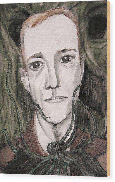 H P Lovecraft Wood Print by Darkest Artist