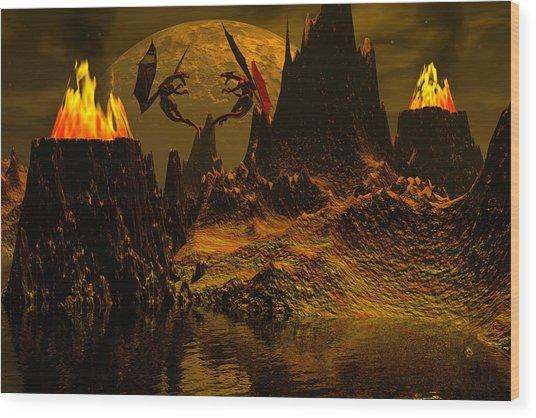 Habitation Of Dragons Wood Print by Claude McCoy