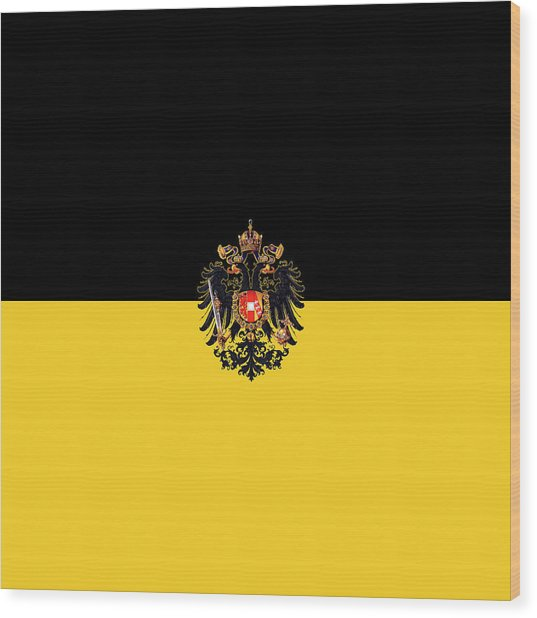 Wood Print featuring the digital art Habsburg Flag With Imperial Coat Of Arms 3 by Helga Novelli
