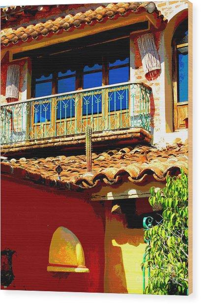 Hacienda Balcony By Darian Day Wood Print by Mexicolors Art Photography