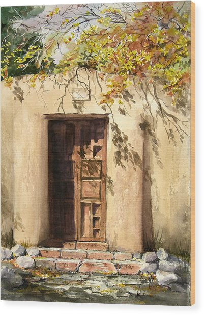 Hacienda Gate Wood Print