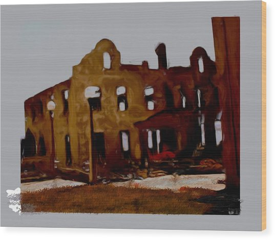 Hacienda Mission Wood Print by Maribel McIntosh