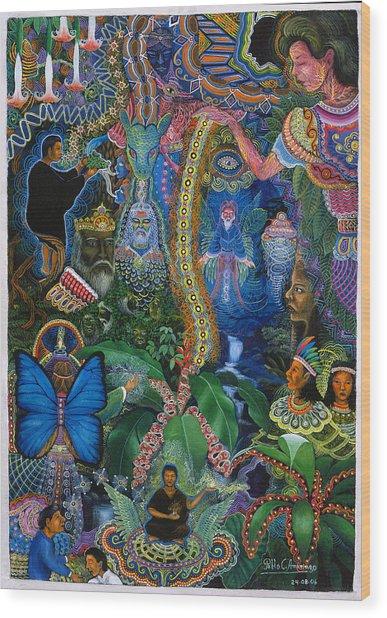 Wood Print featuring the painting Hada De Pero Nuga by Pablo Amaringo