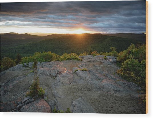 Hadley Mountain Sunset Wood Print