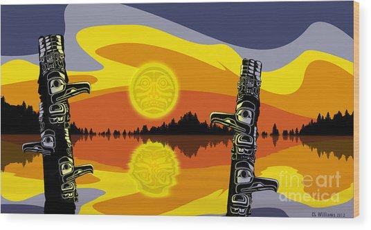 Haida Sunset Wood Print by Christopher Williams