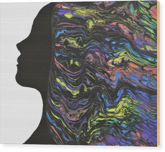 Wood Print featuring the painting Hair - Colors by Vicki Winchester