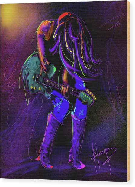 Hair Guitar Wood Print