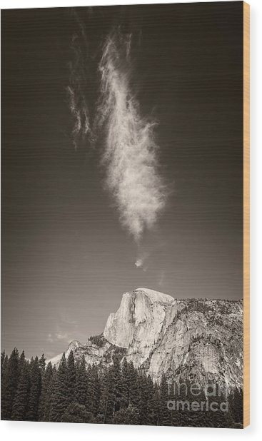 Half Dome And Cloud Wood Print