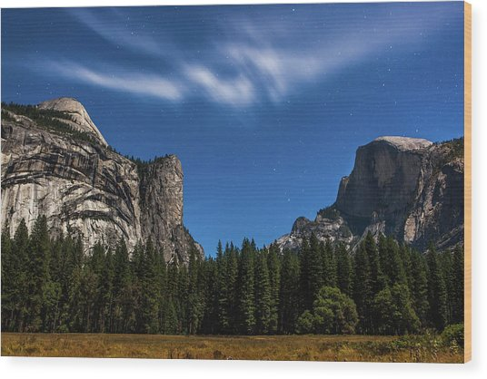 Half Dome And Moonlight - Yosemite Wood Print