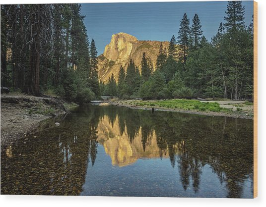 Half Dome From  The Merced Wood Print