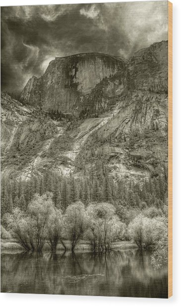 Half Dome Over Mirror Lake Wood Print