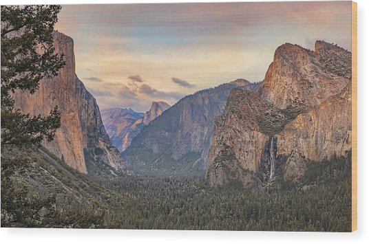 Yosemite Sunset Wood Print