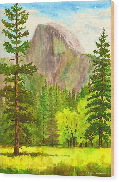 Half Dome With Trees Wood Print