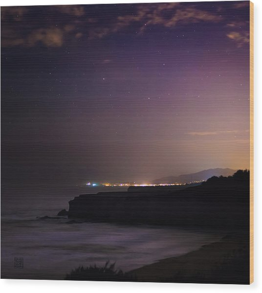 Half Moon Bay Aglow Wood Print