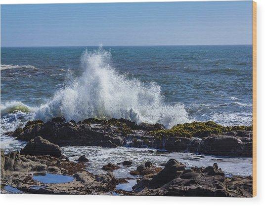 Wave Crashing On California Coast 1 Wood Print