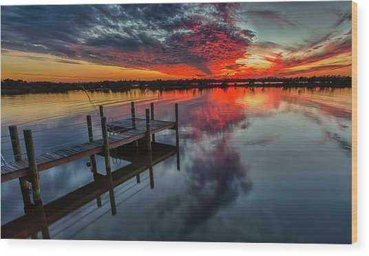 Halifax River Sunset Wood Print
