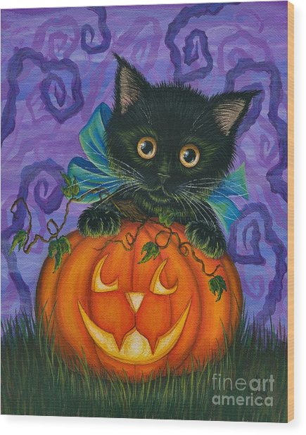 Halloween Black Kitty - Cat And Jackolantern Wood Print