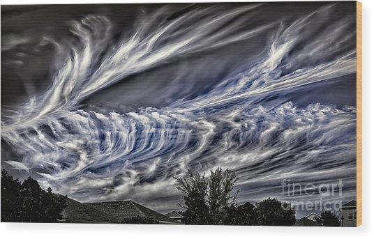 Halloween Clouds Wood Print