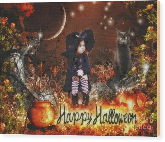Halloween Girl Wood Print