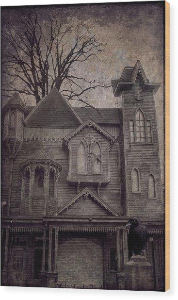 Halloween In Old Town Wood Print