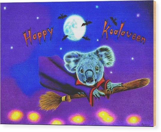 Halloween Koala, Happy Koalaween Wood Print