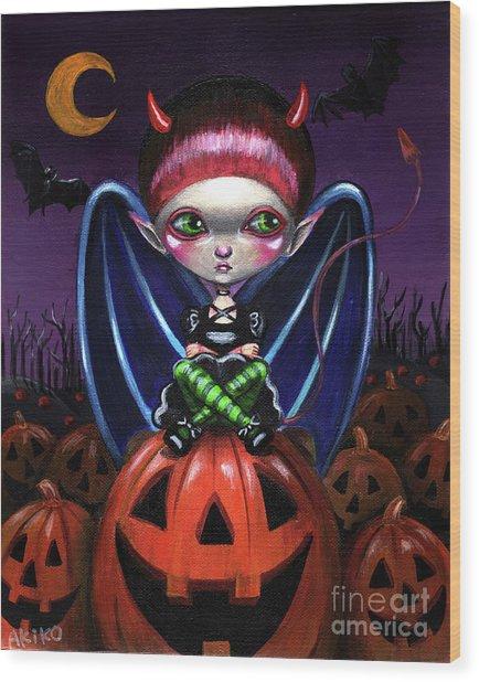 Halloween Little Devil Wood Print