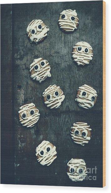 Halloween Mummy Cookies Wood Print