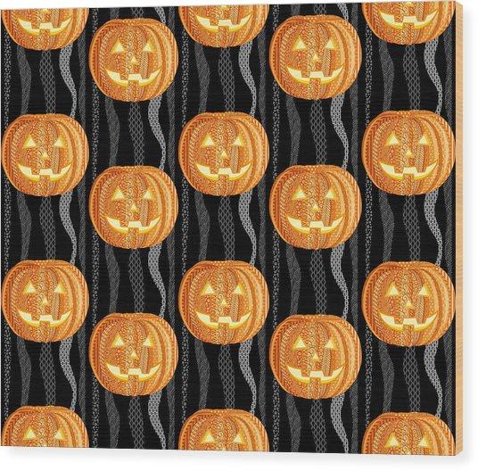 Halloween Pattern Wood Print