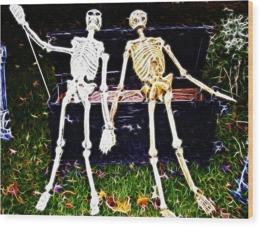 Halloween Skeleton Couple Wood Print