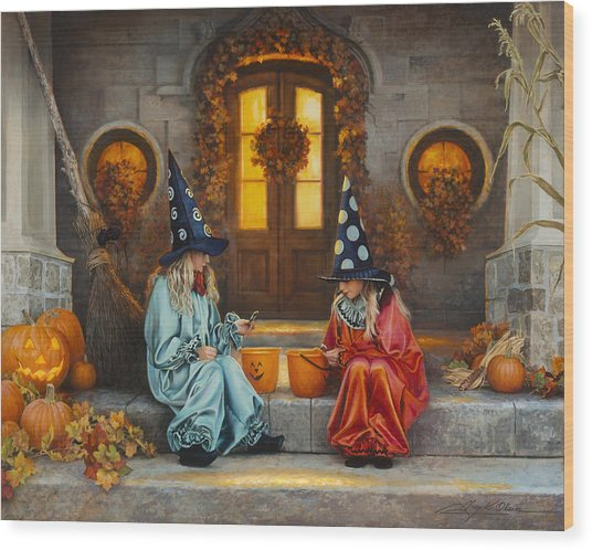 Wood Print featuring the painting Halloween Sweetness by Greg Olsen