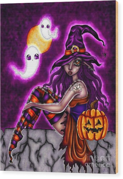 Halloween Witch Wood Print by Coriander  Shea