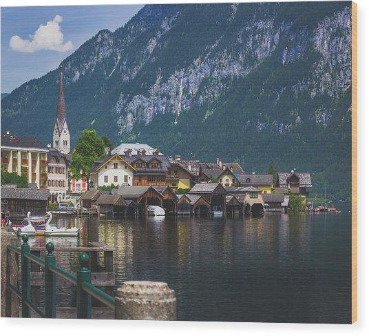 Hallstatt Lakeside Village In Austria Wood Print